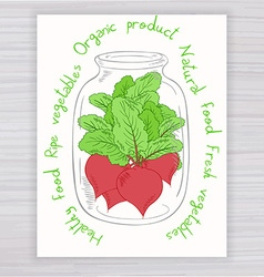 Hand drawn poster with jar full of beet with text vector