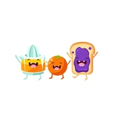 Orange squeezer and toast cartoon friends vector