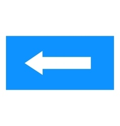 Arrow sign white icon in blue rectangle vector