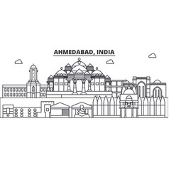 Ahmedabad india architecture line skyline vector