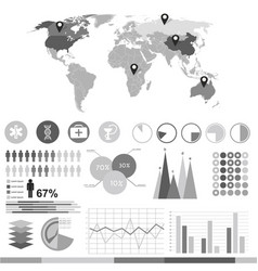 black and white business infographic vector image vector image