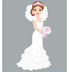 Bride in white dress vector