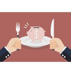 Businessman eating a piggy bank vector