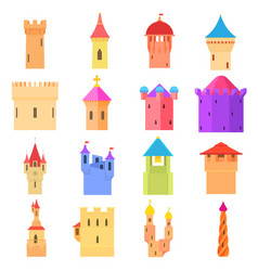 Castle tower icons set color cartoon style vector