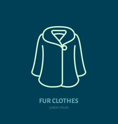 coat icon fur clothing shop line logo flat sign vector image vector image