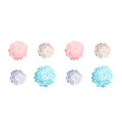 Collection of pastel colored pom poms of different vector