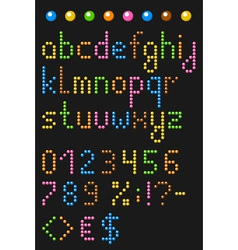 Colorful beaded lowercase english alphabe vector image