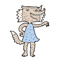 Comic cartoon wolf girl vector