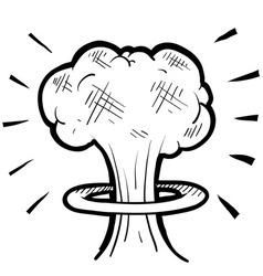 Doodle nuke explosion cloud vector