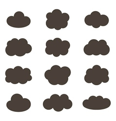 Flat design monochrome cloud icons vector image vector image