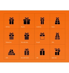 Gift icons on orange background vector image vector image