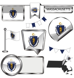 Glossy icons with massachusite flag vector