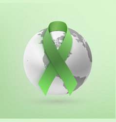 green ribbon with monochrome earth icon vector image vector image