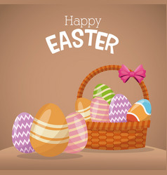 Happy easter basket egg ornament vector