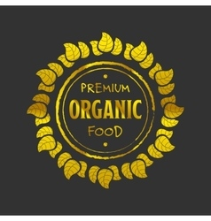 Organic food golden icon vector