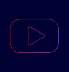 Play button sign line icon with gradient vector