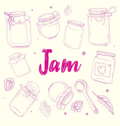 poster with lettering recipe jam vector image