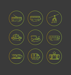 Public city transport flat icons on a dark vector