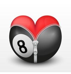 Red heart inside billiard ball vector image vector image