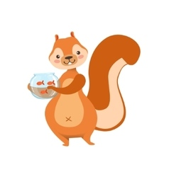 Red squirrel holding aquarium with pet gold fish vector