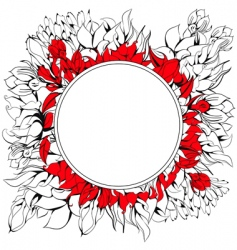 round frame with floral element vector image vector image