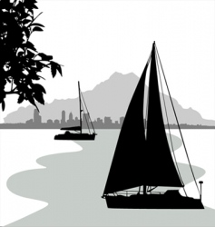 sailing boat vector image