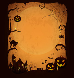 scary dark halloween poster with spooky objects vector image