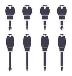 Set icons of screwdrivers vector