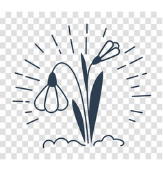 Silhouette icon of a snowdrop vector