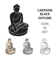 Sitting buddha icon in cartoon style isolated on vector