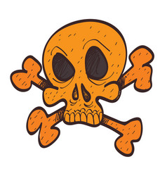 skull and bones colored icon with a black outline vector image vector image