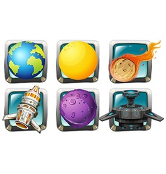 Spaceship and planets on square badges vector
