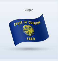 State of oregon flag waving form vector