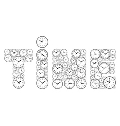 The word time made up of watch dials vector image vector image