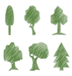 Trees oak spruce bush willow symbolic icons vector