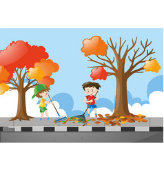 Two boys raking dried leaves on pavement vector