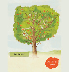 Watercolor family tree vector