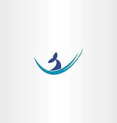 whale tail water wave logo vector image vector image