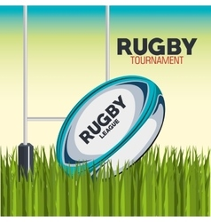 Rugby ball with field and post goal design vector