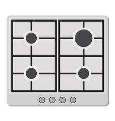 Surface of white gas hob stove vector