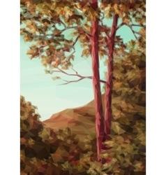 Landscape autumn trees vector