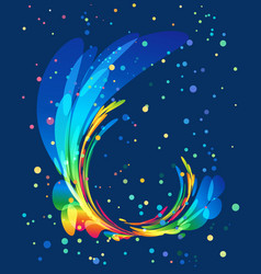 Multicolored rounded element on blue background vector