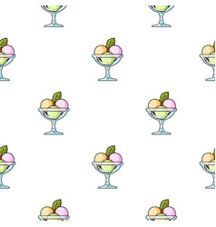 ice cream in the glass bowl icon in cartoon style vector image