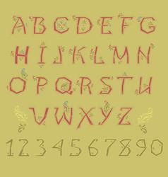 Red folk alphabet vector