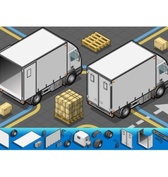 Isometric container refrigerator truck in rear vector