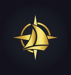 Sailing boat star compass gold logo vector