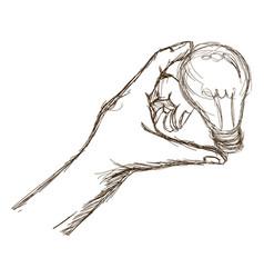 Engraved hand holding bulb light image vector
