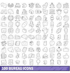 100 bureau icons set outline style vector