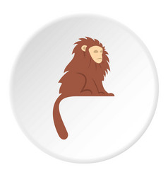 Monkey with long brown hair i icon circle vector