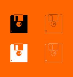 Floppy disk black and white set icon vector